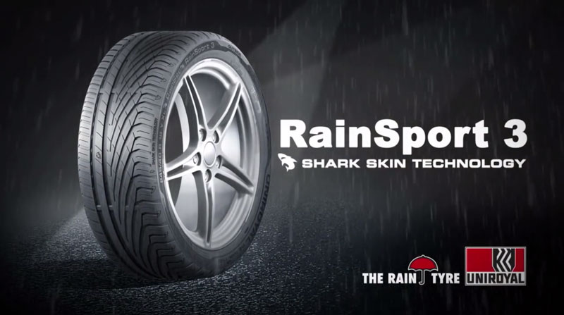 Le Rainsport 3 utilise le Shark Skin Technology qui lui permet d'être excellent contre l'aquaplaning